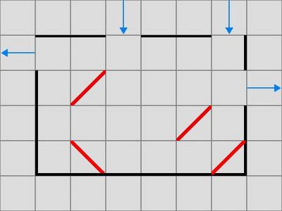 全ての反射板で1回以上光を反射させる必要があります(使わない反射板があってはいけません)。反射板は両面とも光を反射します。