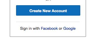そうすると、一番下に「Sign in with Facebook or Google」とあります。